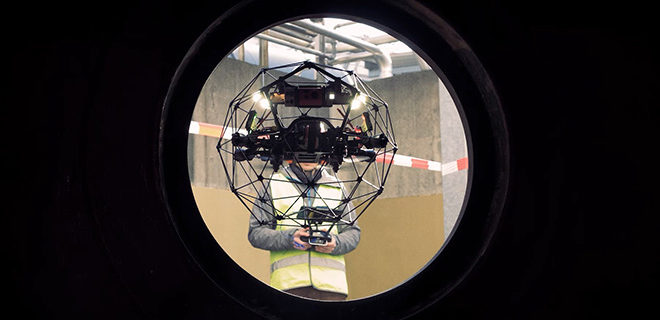 The Flyability Elios 2 caged inspection drone has lift off
