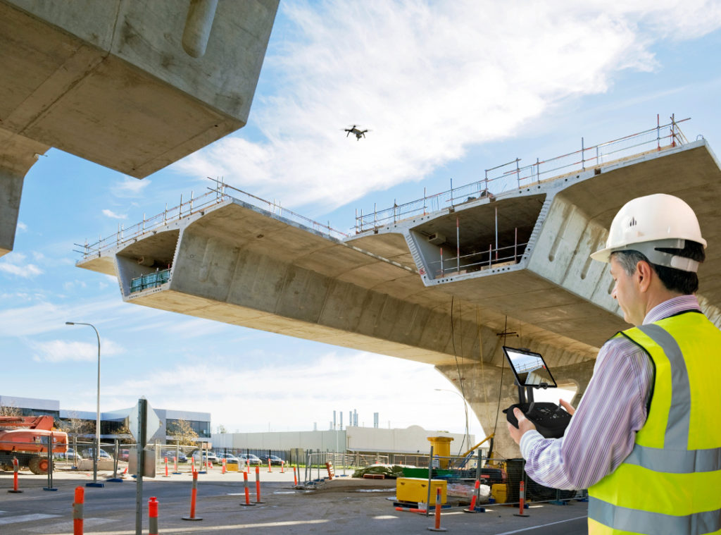 Industrial Inspection of Road Construction with a Drone